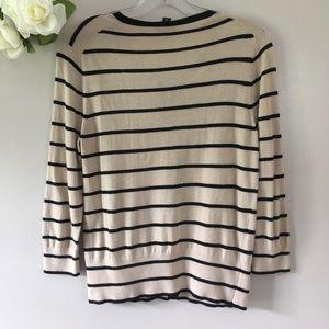Ann Taylor Sweaters - Ann Taylor Creme & Black Striped Cardigan